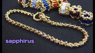 【ビーズステッチ】チェーンブレスレットの作り方☆ロンデルのブレスレット 2 How to make : Beaded chain bracelet with seed beads.