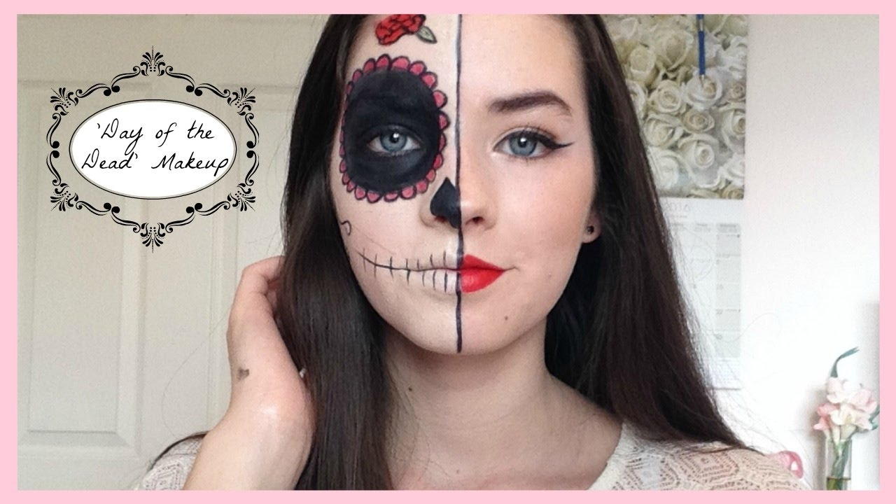 Half Face Day Of The Dead Halloween Makeup Makeupbyalice Youtube