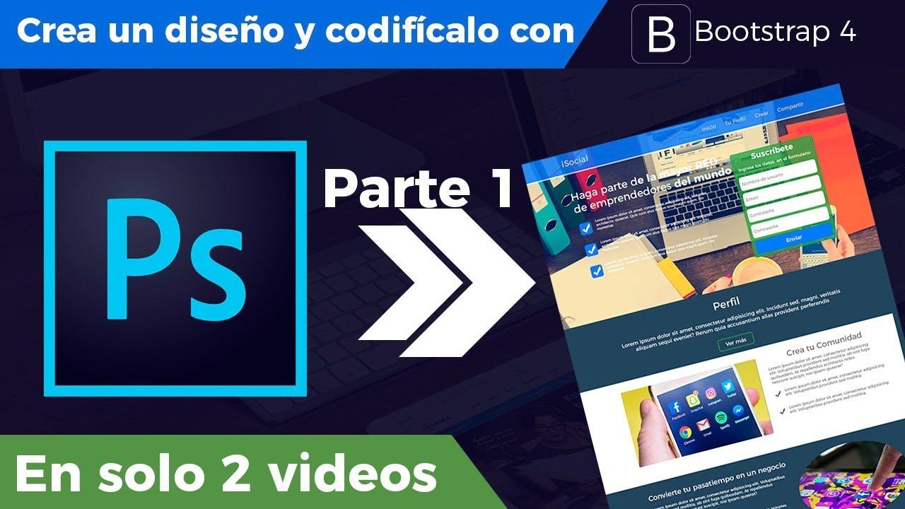 De Photoshop a Bootstrap 4 Parte 1 - Diseño de Interfaz - YouTube