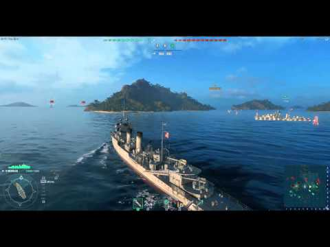 World of Warships.Эсминец США 5 уровень.Обзор.Корабли.Удар торпедами.