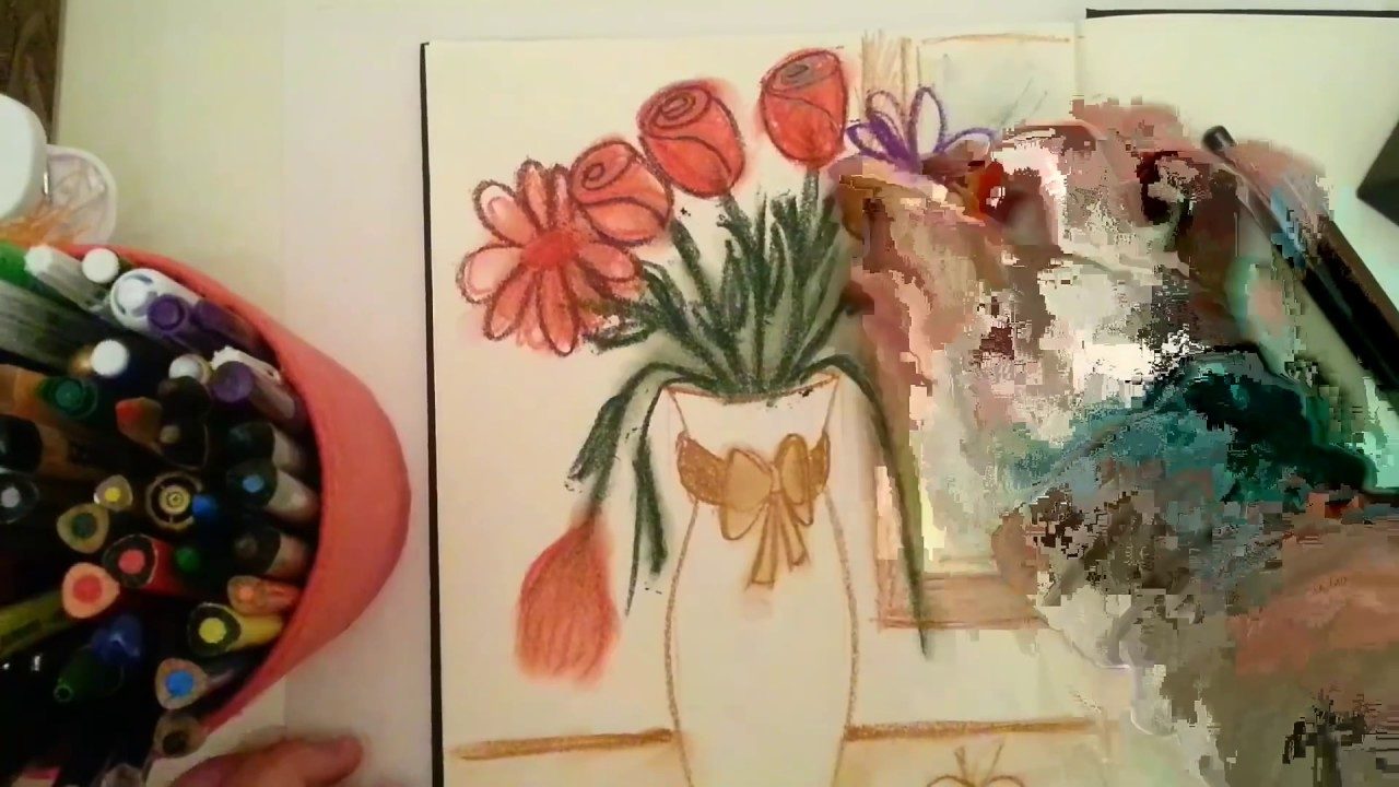 Vazoda çiçek çizimi Vase Flower Drawing Youtube
