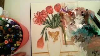 Vazoda çiçek çizimi / Vase flower drawing