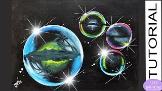 Painting Tutorial Soap BUBBLES Palms reflection - How to paint Step by step