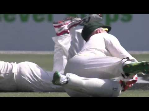 Brad Haddin takes superb catch of Pujara
