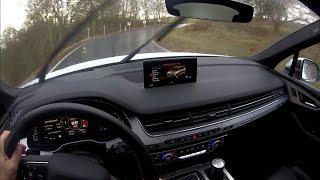 Audi SQ7 TDI - driving in rain - POV, engine sound, Audi virtual cockpit