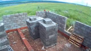 Дом под заказ #3. Кладка стен из керамзитовых блоков.