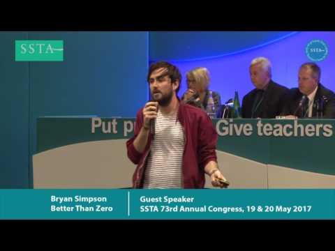Guest Speaker - Bryan Simpson, Better Than Zero Campaign - SSTA 73rd Annual Congress