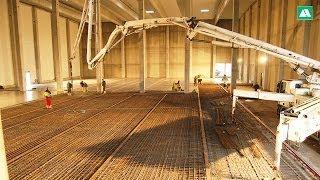 Schienen und Industrieboden für das Hochregallager im Zeitraffer