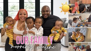 MORNING ROUTINE WITH TWO SETS OF TWINS   6 Months & Toddlers   FAMILY MORNING ROUTINE *REAL LIFE*
