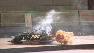 Two RC Stockcars go up in smoke 30 seconds before end of five minute feature race!