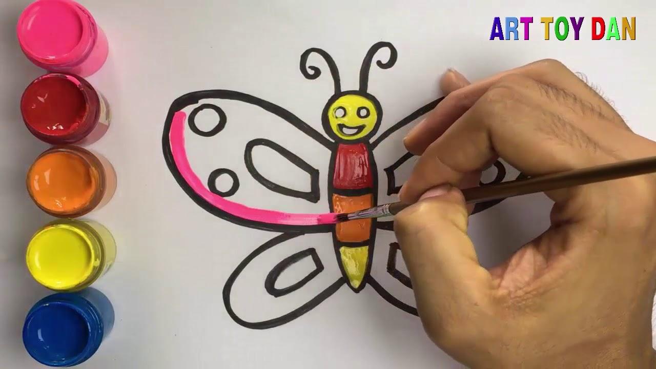 Vẽ con bươm bướm – Bé học vẽ – Bé tập tô màu – Draw the butterfly – Art toy dan