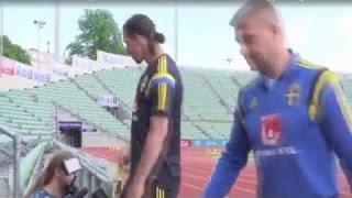 Zlatan Ibrahimovic pranks a cameraman with banana skin
