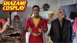 Shazam! cosplay!  Billy Shazam, Wizard and Sivana at the Shazam! advanced screening