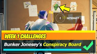 Interact with Bunker Jonesy's conspirancy board Location - Fortnite