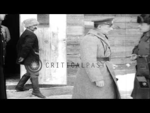 British Military Officers in Siberia during World War I HD Stock Footage