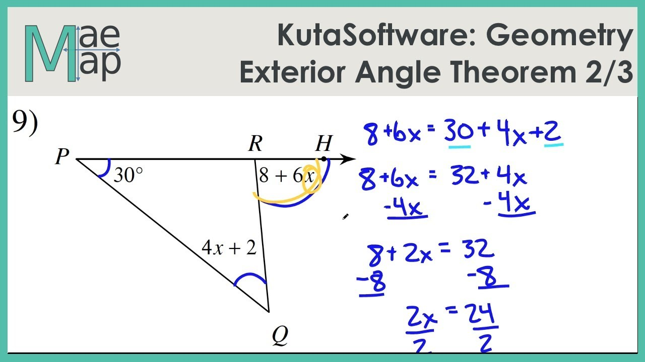 Kutasoftware geometry exterior angle theorem part 2 - The exterior angle theorem answers ...