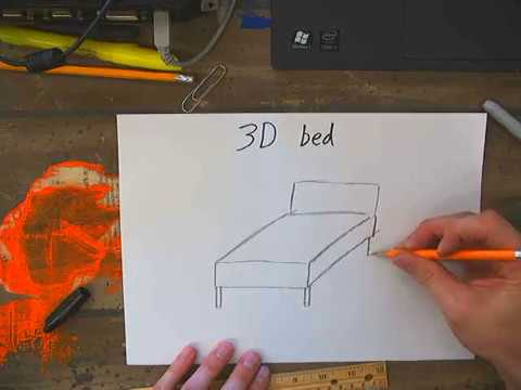 how to draw a 3d bed step by step
