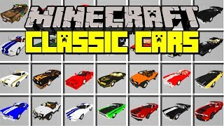 Minecraft CLASSIC CARS MOD! | 1970 DODGE CHARGER, FERRARI, SHELBY GT500 & MORE! | Modded Mini-Game