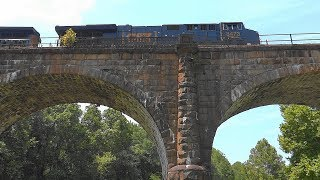 CSX Freight Train Hauls A Capped Dash-9 Over Thomas Viaduct