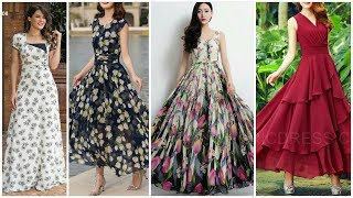Latest Top Long dress    Stylish summer Chiffon dress     Trendi Fashion 2019