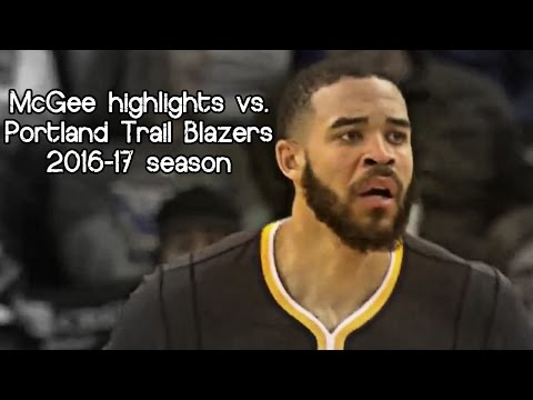 JaVale McGee 11 pts in 11 mins vs. Trail Blazers (NBA RS 2016/2017) - DUNKFEST!