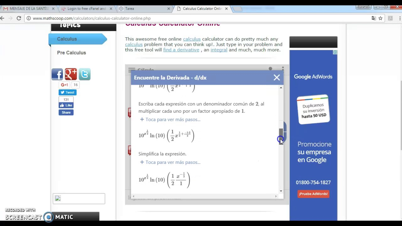 Derivadas Exponenciales con el Mathscoop-Mathway on