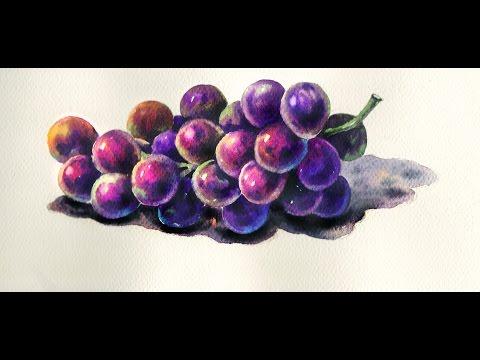 Foundation Course in Watercolor 7 - Grapes  基礎水彩示範 - 葡萄