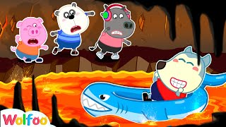 The Floor Is Lava - Wolfoo Passes the Lava River by Baby Shark Float | Wolfoo Family Kids Cartoon