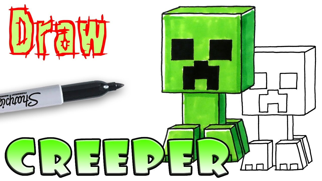 How to Draw the Creeper - Minecraft - Coloring Pages - YouTube