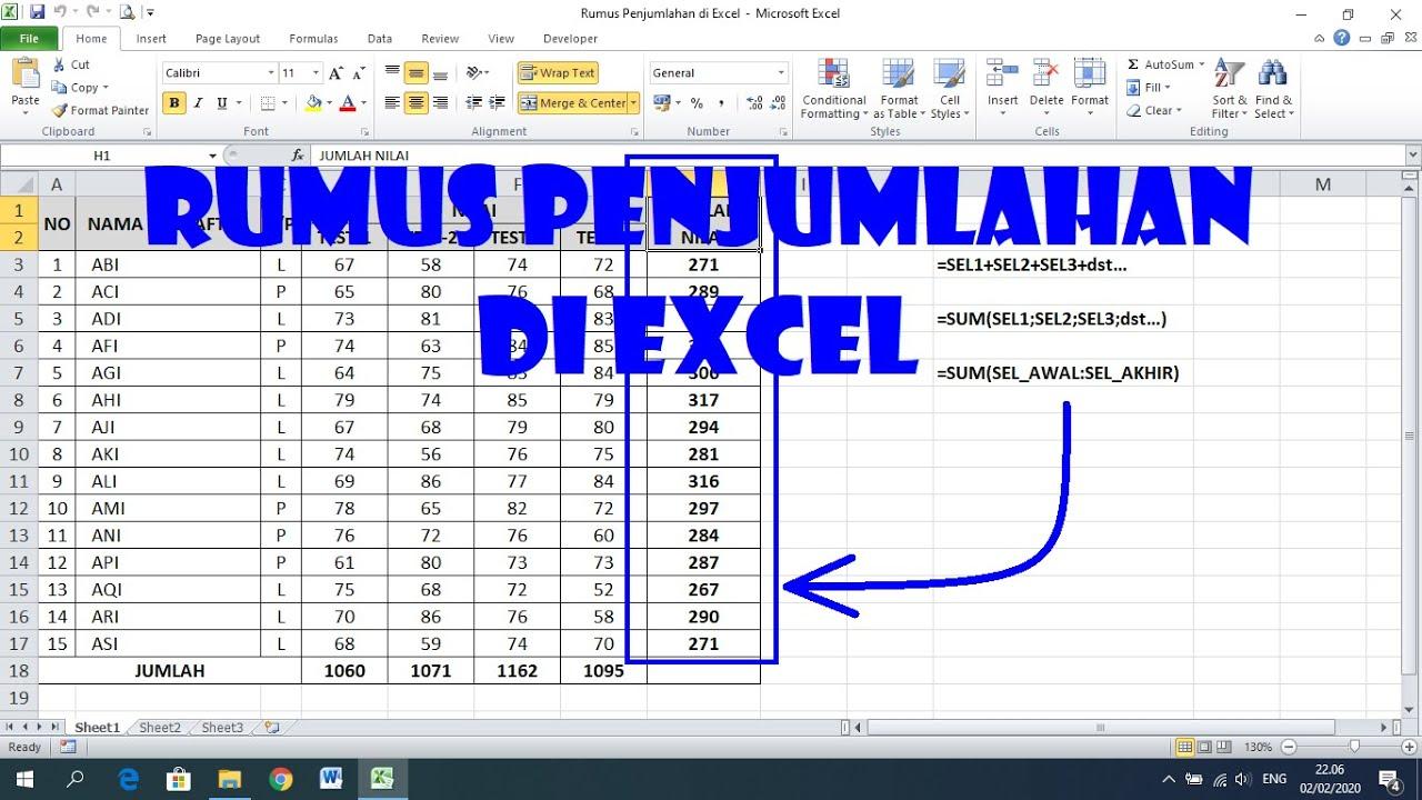 Cara Menggunakan Rumus Penjumlahan Di Excel Youtube