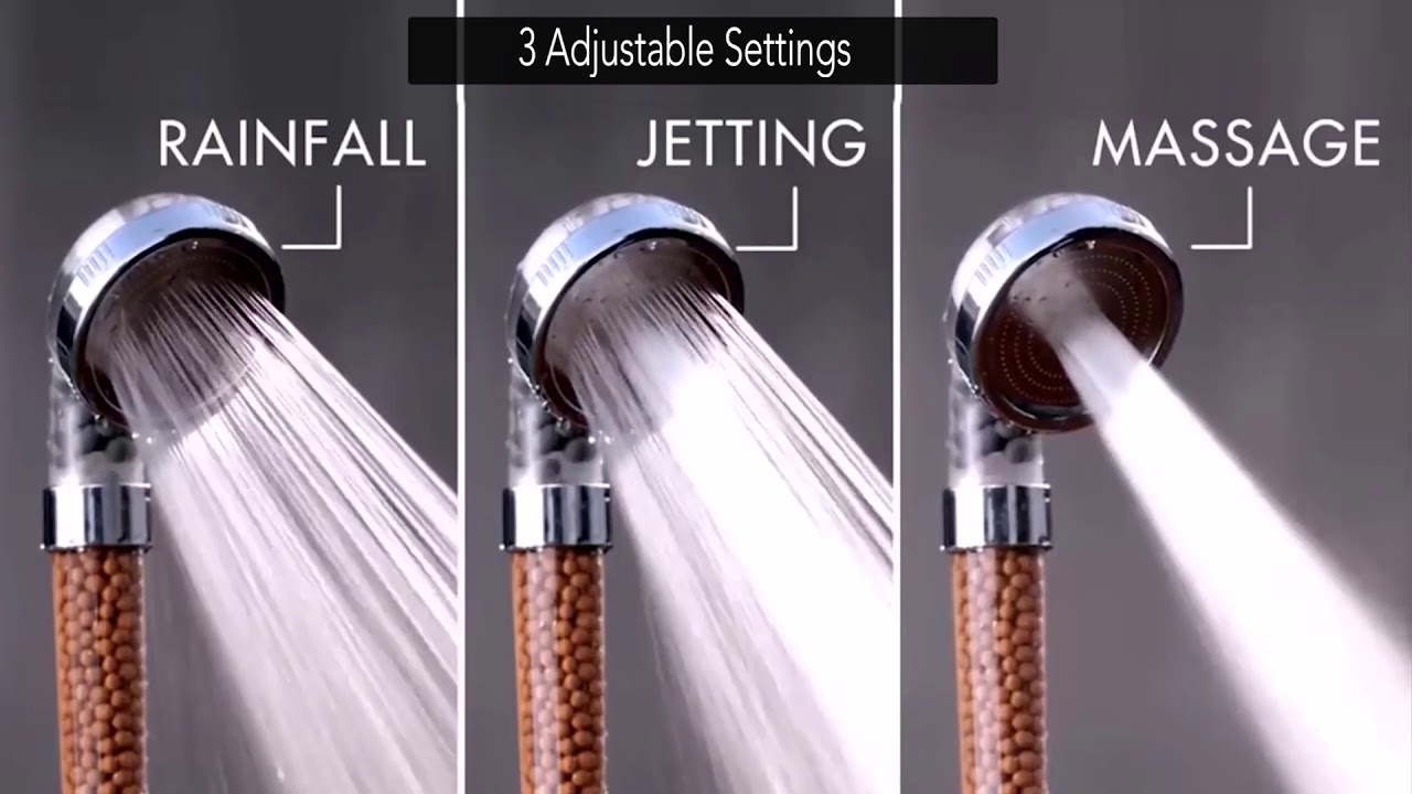 Massage Silver Jetting 30/% Water Saving Spa Shower Head //3 Modes Rainfall