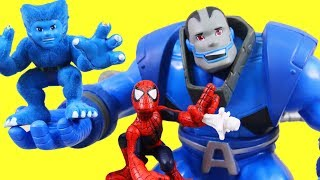 Marvel Superhero Squad Apocalypse Vs. Beast & Captain America + Spider-man slings Webs At Vulture