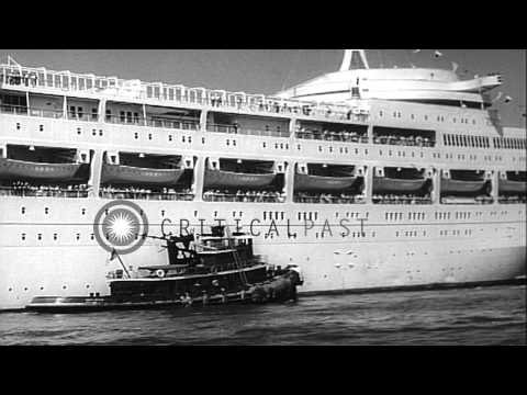 British liner Canberra arrives at New York harbor in United States. HD Stock Footage