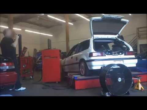 RWD EF N/A DOHC rear engine Honda on dyno