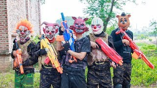 MASK Nerf War : Bounty Hunter Alpha Nerf Guns Fight Attack Criminal Group Mask
