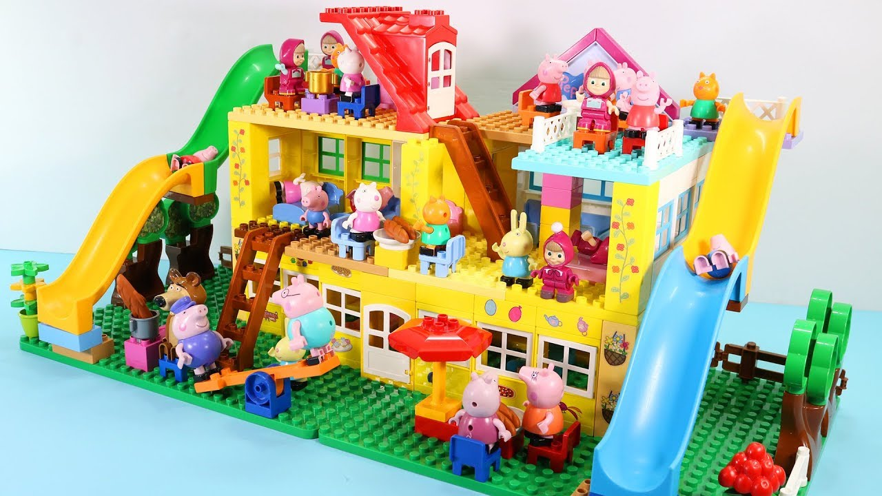 Peppa Pig House Construction Sets Lego Duplo House Creations Toys