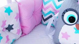 Обзор бортиков в кроватку сова и единорог