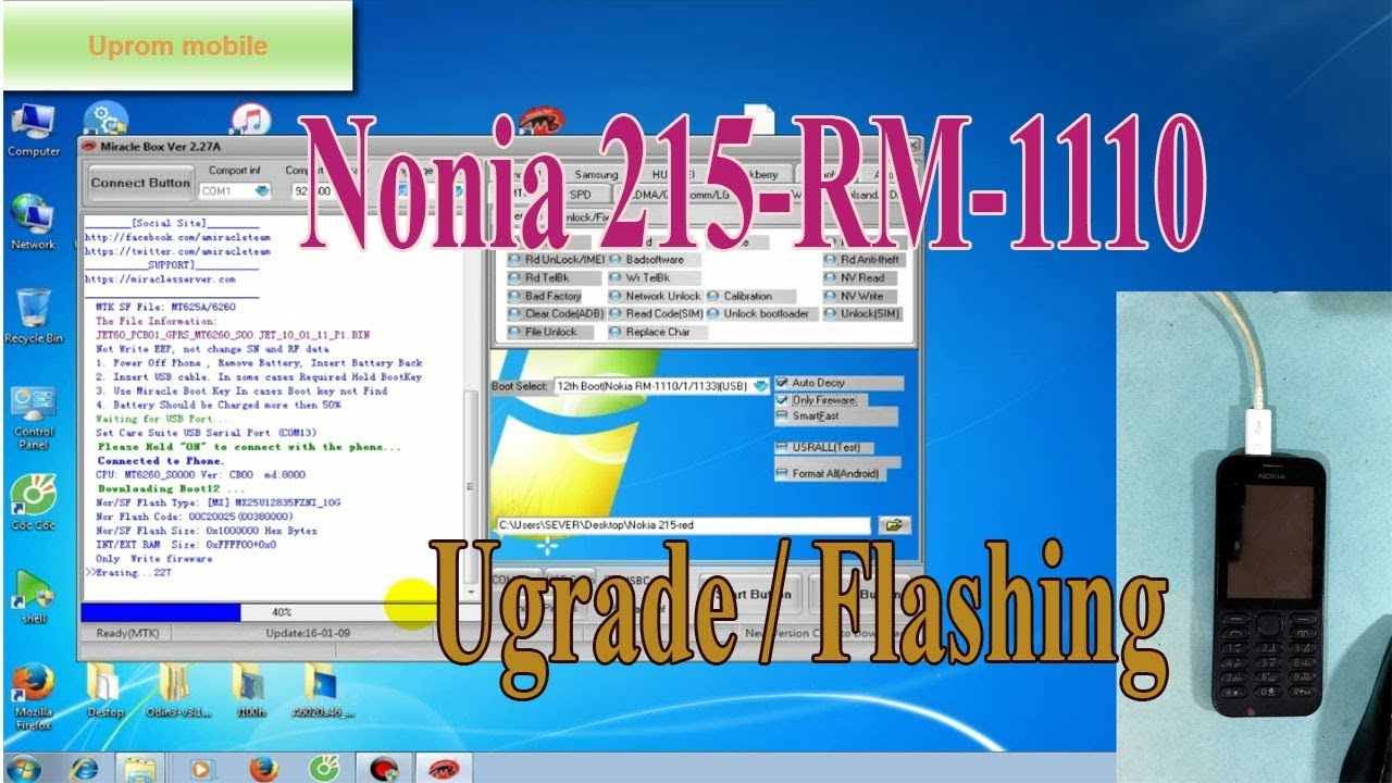 Flashing repair firmware Nokia 215 Rm 1110 by Miracle box