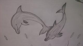 Рисуем дельфинов прыгающих в волнах (очень просто, для начинающих)(Здравствуйте! Предлагаю вашему вниманию видеоролик, где я показываю, как очень просто нарисовать прыгающих..., 2015-05-23T23:33:27.000Z)