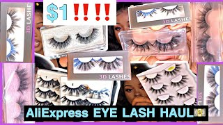$1 25 MM LASHES | MINK LASHES FROM ALIEXPRESS | ALIEXPRESS EYELASH TRY ON HAUL |