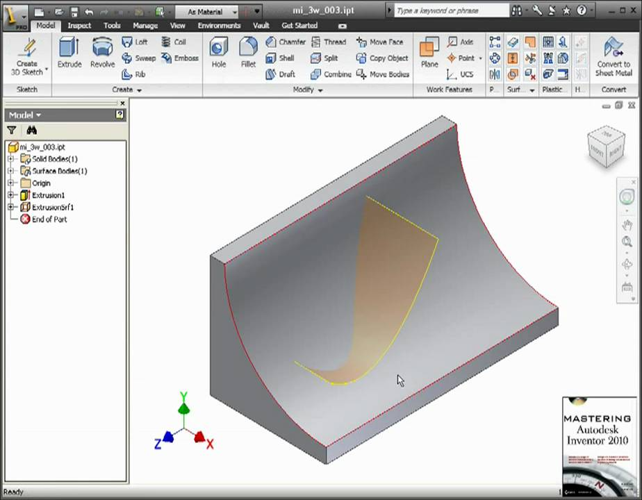 Autodesk Inventor 3D Sketch: Intersection Curves