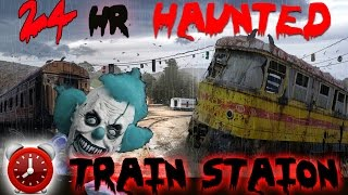(OUIJA) 24 HOUR OVERNIGHT CHALLENGE HAUNTED TRAIN STATION /GHOST CAUGHT ON CAMERA! TOM SHOWS HIMSELF