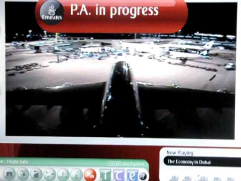Emirates Airlines Airbus A380 - Nighttime Tail Camera View