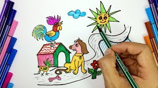 How to draw and coloring Dog, Rooster in the Sun at the countryside for kids learn clors