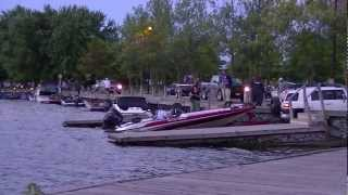 Bass Boats Launching for Tournament in Orillia Ontario