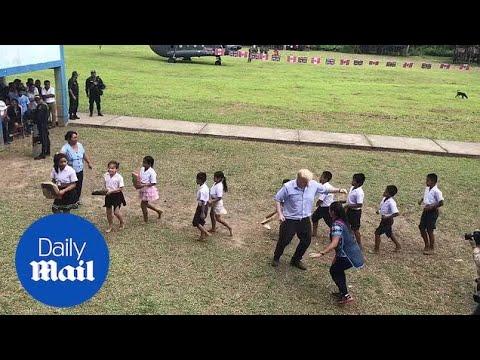 Foreign Secretary Boris Johnson dad dances in Santa Marta,  Peru - Daily Mail
