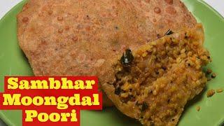 poori with Moong Dal - Sambhar Masala Poori - Stuffed masala Poori