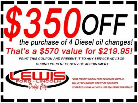 Dodge City Oil Change Coupons And Specials At Lewis Ford Lincoln