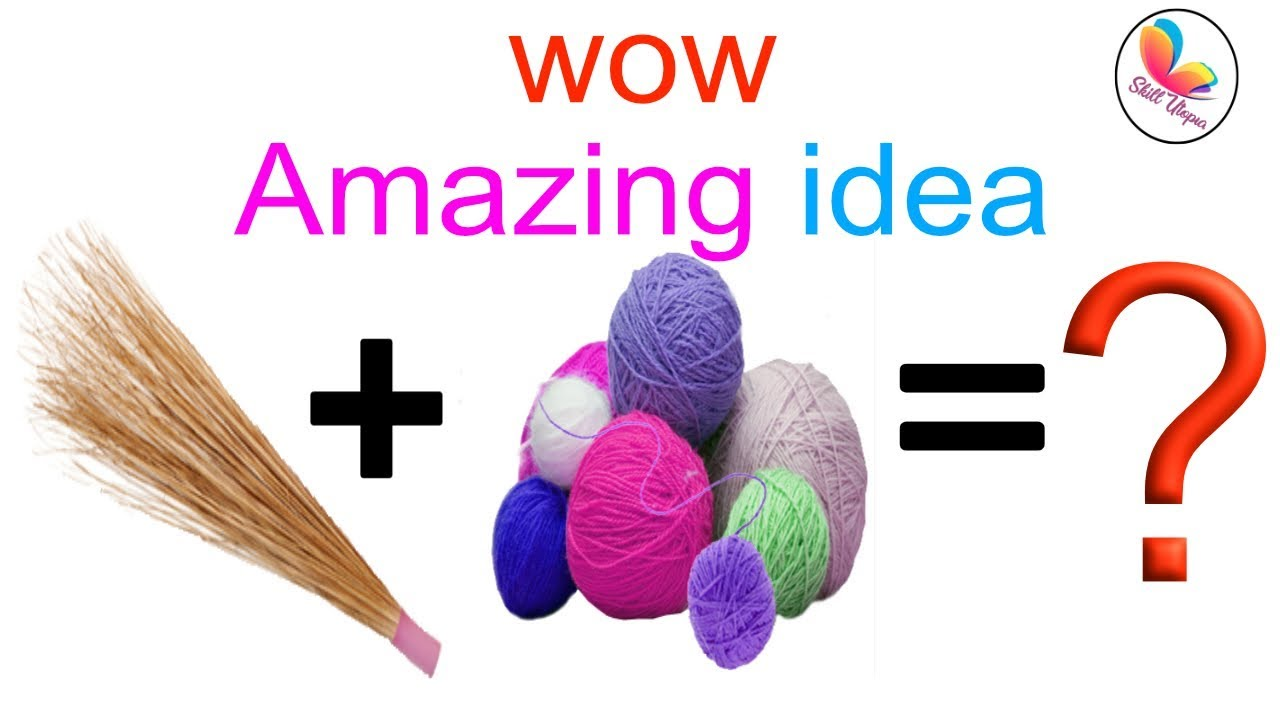 DIY home decoration idea with broom and wool | best out of waste ...