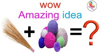 DIY home decoration idea with broom and wool | best out of waste wall hanging | skill utopia